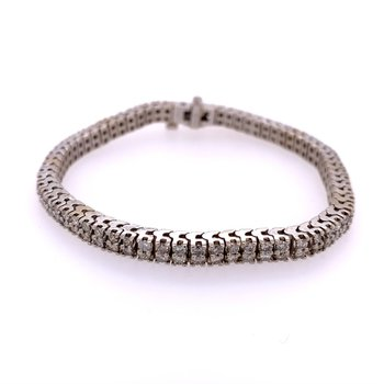 Double Row Diamond Tennis Bracelet in White Gold
