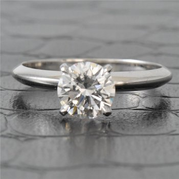 GIA 1.03 Carat E-VVS2 Round Brilliant Cut Diamond Engagement Ring