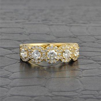 Five Stone Diamond Band in Yellow Gold