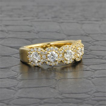 Five Stone Diamond Band in Yellow Gold