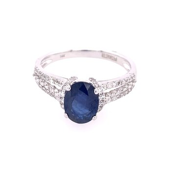 Sapphire and Diamond Ring with Split Shank