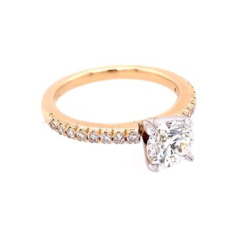 1.21 Carat Round Brilliant Cut Diamond Engagement Ring in Yellow Gold