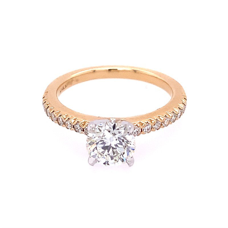 Perry's Estate Collection 1.21 Carat Round Brilliant Cut Diamond Engagement Ring in Yellow Gold