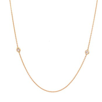 Fine Gold Diamond Station Necklace in 18k Gold