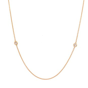 Fine Gold Diamond Station Necklace in 18k Gold