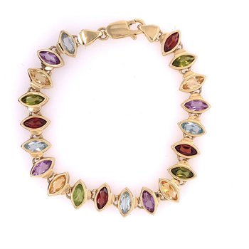 Multi Gem Bracelet in Yellow Gold