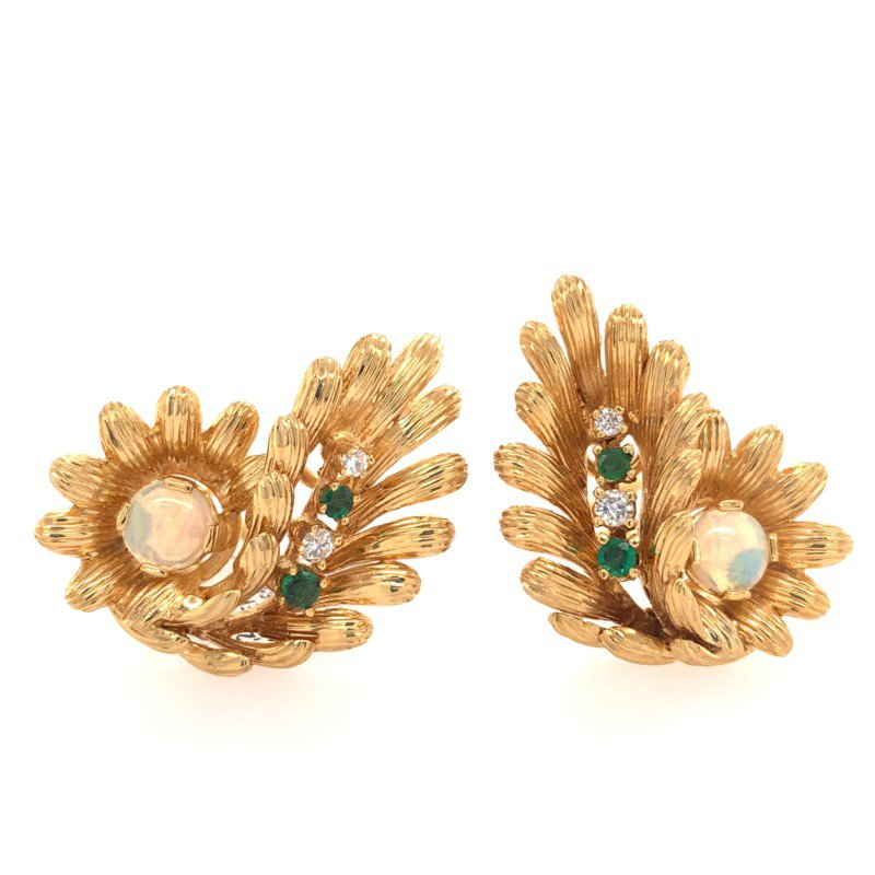 Perry's Estate Collection Opal, Emerald and Diamond Spray Clip On Earrings in Yellow Gold