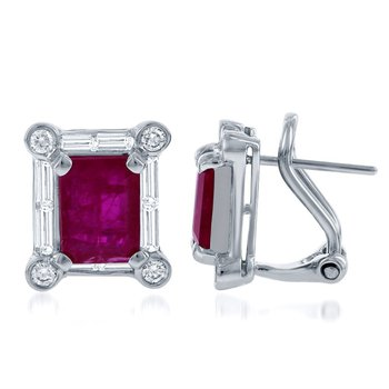 Ruby and Diamond Stud Earrings in 18k White Gold