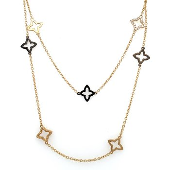 Long 14K Yellow Gold & Diamond Necklace
