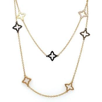 Long 14K Yellow Gold & Diamond Necklace