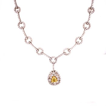 Pear Shaped Fancy Light Yellow Diamond Necklace in 18k White Gold