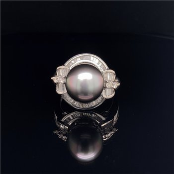 10.7 MM South Sea Pearl and Diamond Ring in White Gold