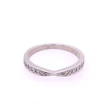 Pinched Diamond Band in White Gold