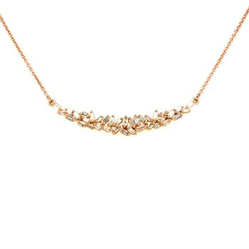 Curved Diamond Necklace in 14k Rose Gold