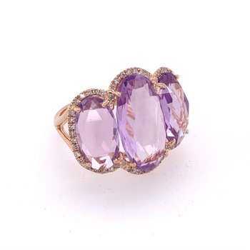 Three Stone Amethyst Ring in Rose Gold