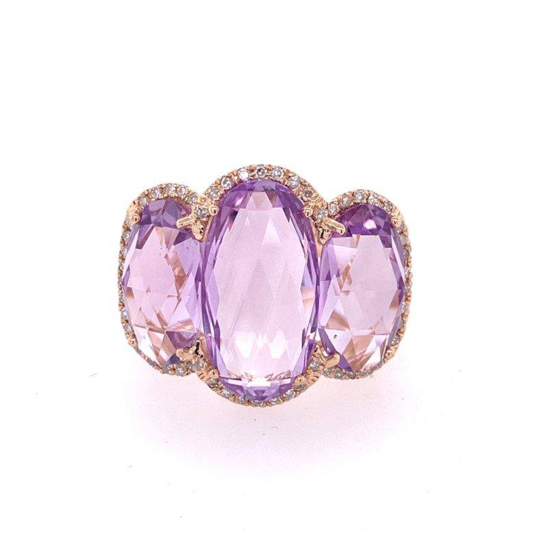 Effy Three Stone Amethyst Ring in Rose Gold