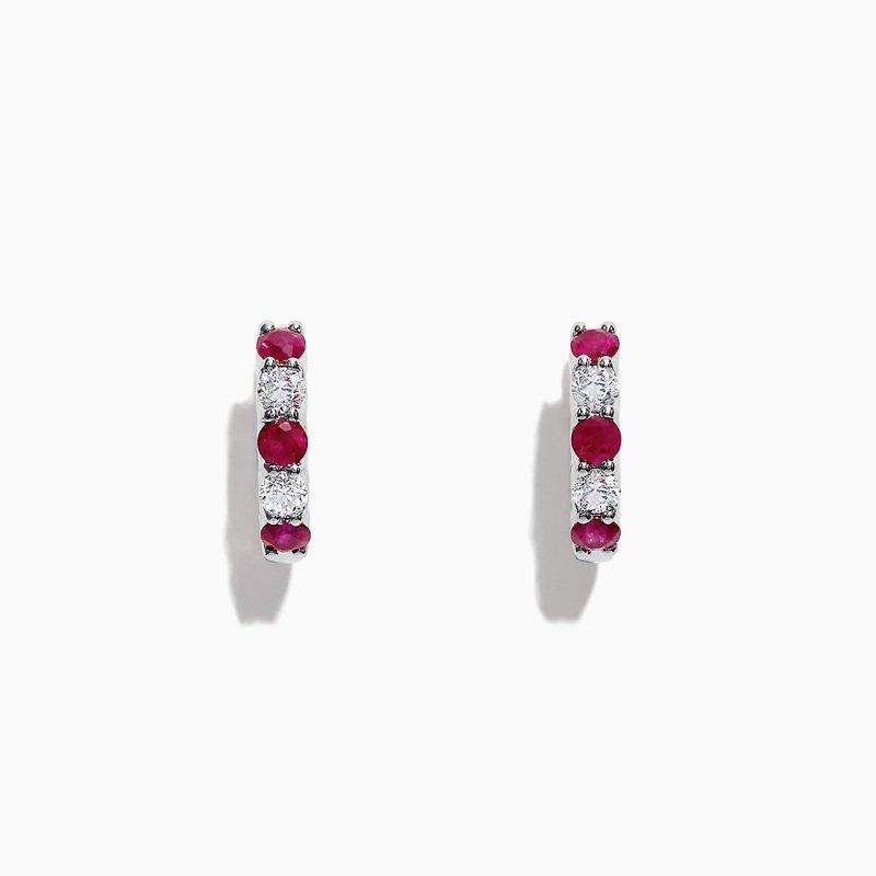 Effy Ruby and Diamond Hoop Earrings