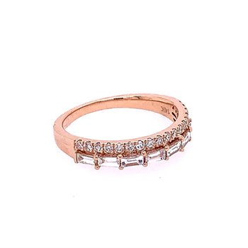 Double Diamond Band Ring in Rose Gold