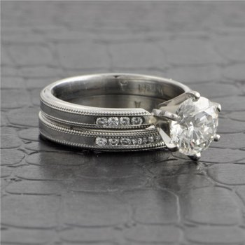 GIA 1.55 Carat Platinum Engagement Ring with Matching Band
