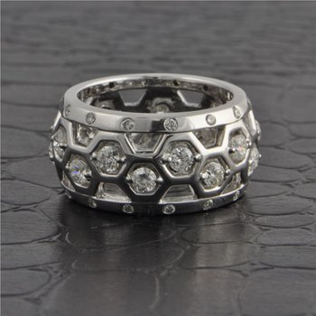 Wide Open Work Diamond Band in White Gold
