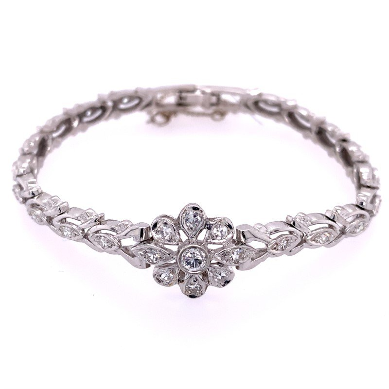 Perry's Estate Collection Diamond Flower Bracelet in White Gold