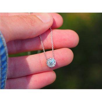 "18k White Gold Diamond ""Fulfillment"" Pendant Necklace"