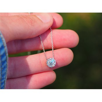 "18k White Gold Diamond ""Fulfillment"" Pendant Necklace"