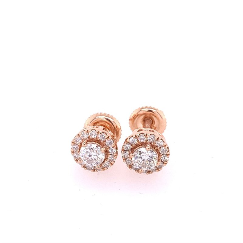 Royal Jewelry Rose Gold Diamond Stud Earrings with Halo