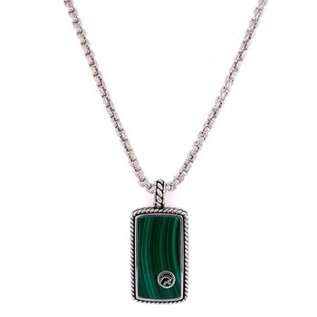 Malachite Dog Tag Style Pendant in Sterling Silver