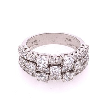 Multi Diamond Band Ring in White Gold
