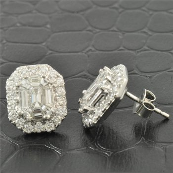 2.25 Carat Diamond Cluster Style Earrings in White Gold