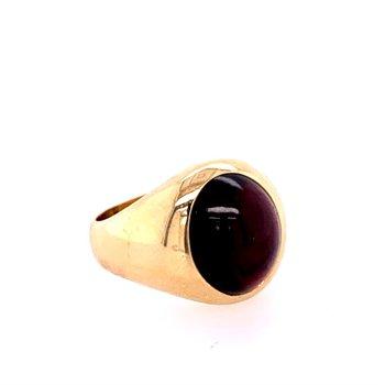 Men's Garnet Ring in Yellow Gold