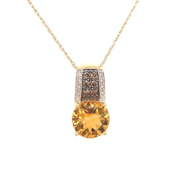 Citrine and Diamond Pendant in Yellow Gold