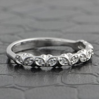 Floral Diamond Wedding Band