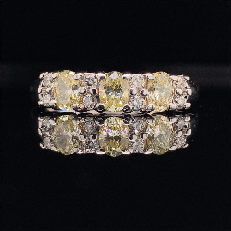 Perry's Estate Collection Light Yellow Oval Cut Diamond Band Style Ring in White Gold