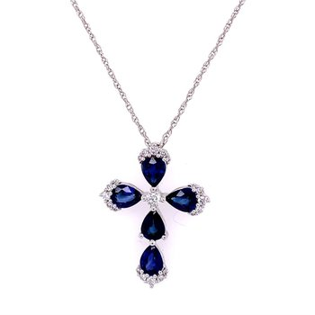 Sapphire and Diamond Cross Pendant in White Gold