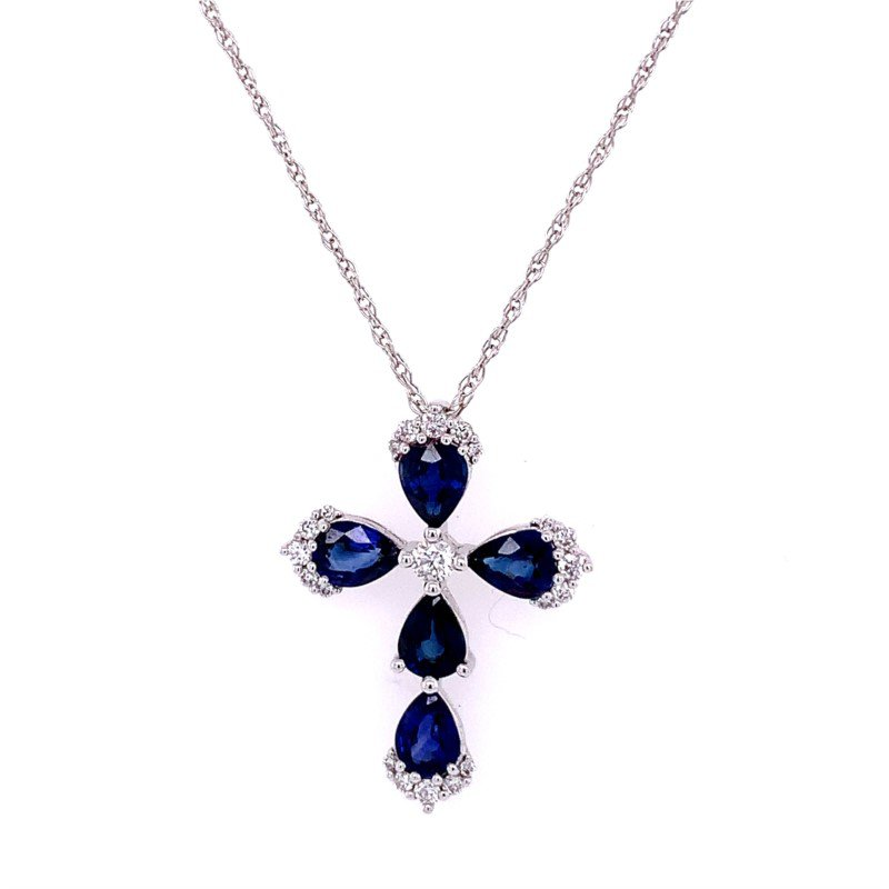 Kattan Sapphire and Diamond Cross Pendant in White Gold