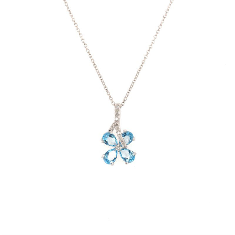 Effy Blue Topaz and Diamond Floral Motif Pendant in White Gold