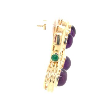Cabochon Cut Amethyst and Emerald Earrings in Yellow Gold