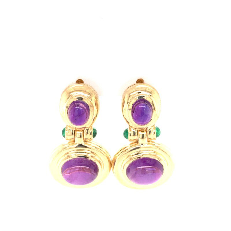 Perry's Estate Collection Cabochon Cut Amethyst and Emerald Earrings in Yellow Gold