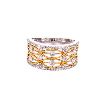 Wide Diamond Band in White and Yellow Gold