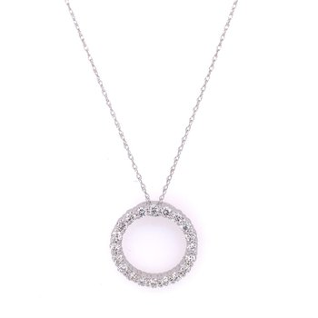 Circular Diamond Pendant in White Gold
