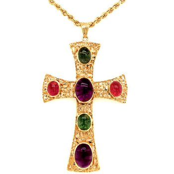 Large Amethyst and Tourmaline Cross Pendant in Yellow Gold