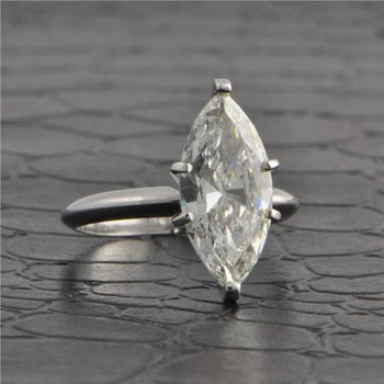 GIA 3.1 Carat I-SI2 Marquise Cut Diamond Engagement Ring