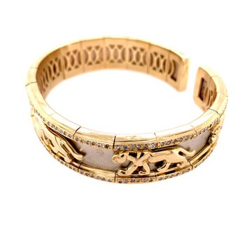 Panther Bracelet in Two Tone Gold
