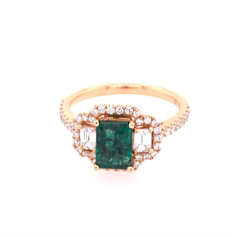 Jewels By Jacob Emerald and Diamond Ring in 18k Rose Gold
