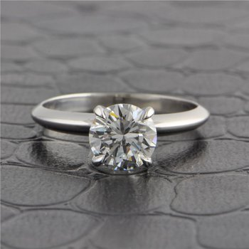 GIA 1.25 Carat F-VS2 Round Brilliant Cut Diamond Engagement Ring