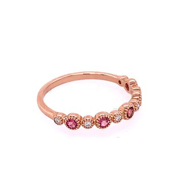 Pink Tourmaline and Diamond Band in Rose Gold