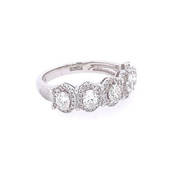 Oval Cut Diamond Band in White Gold