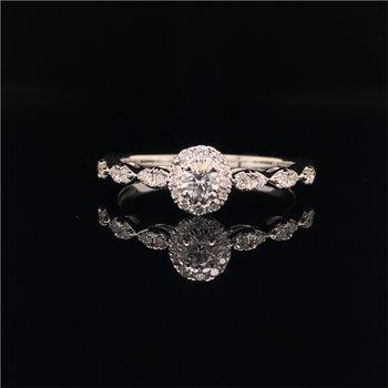 Petite Diamond Engagement Ring in White Gold